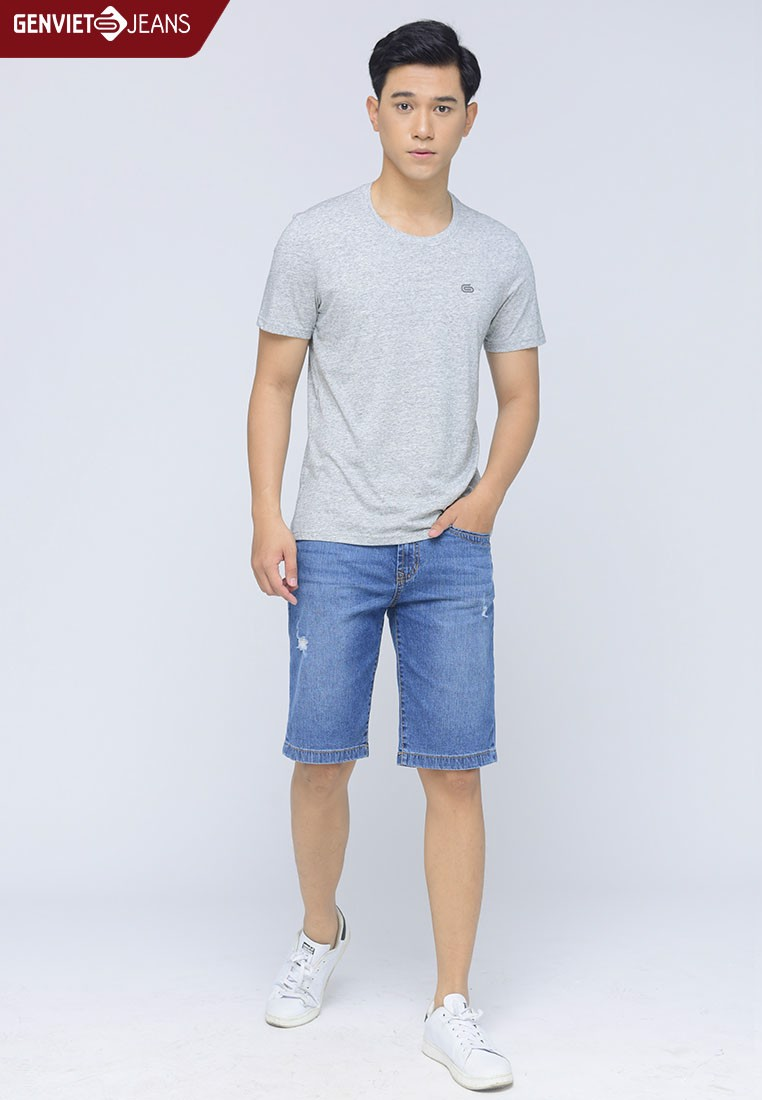 T1302J334 - Quần Ngố Jeans Wash-Out Gấp Gối