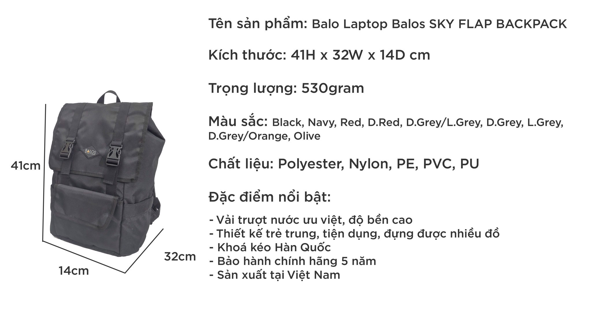 Balos SKY FLAP Black Backpack - Balo Laptop thời trang