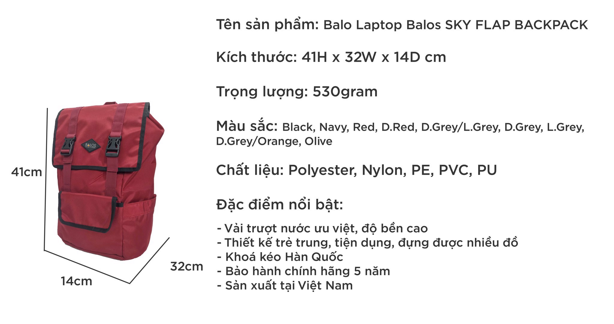 Balos SKY FLAP D.Red Backpack - Balo Laptop thời trang