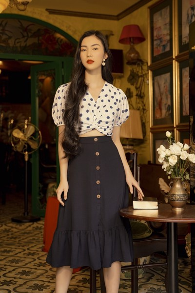Áo - Navy Polka Dot Top