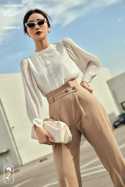 Quần Beige Button Pants