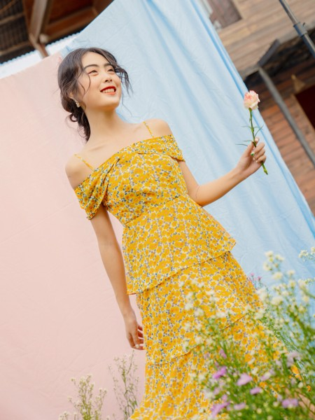 Mustard Floral Layer Dress