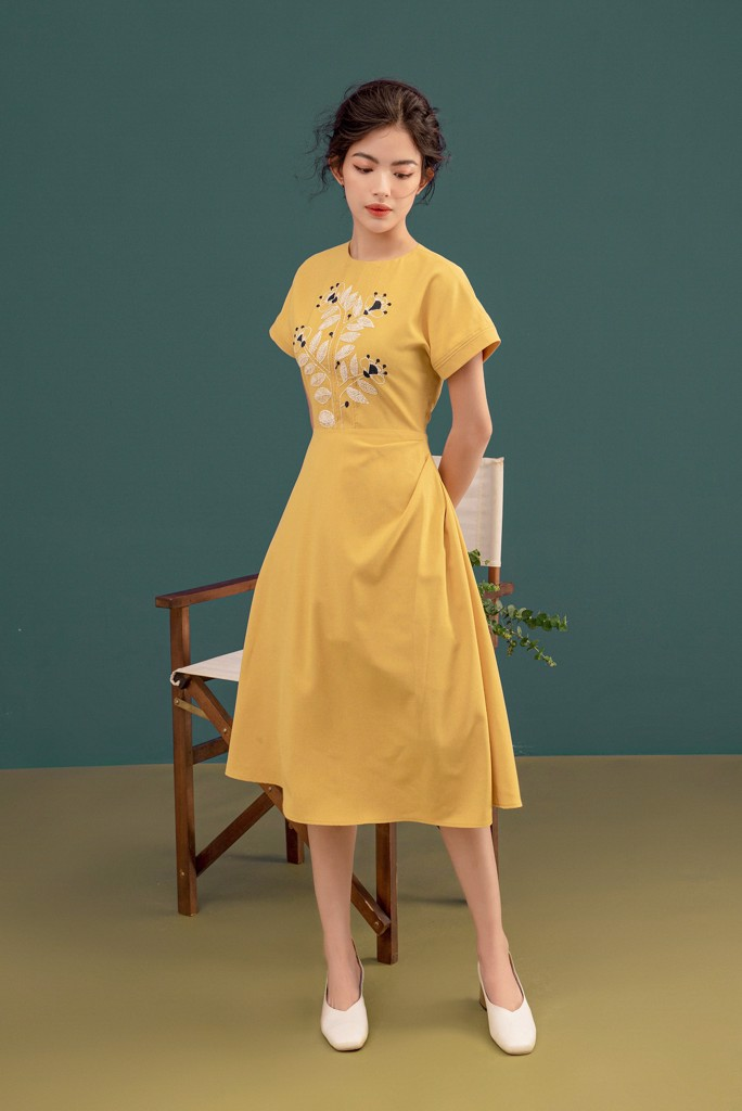 White On Mustard Embro Dress
