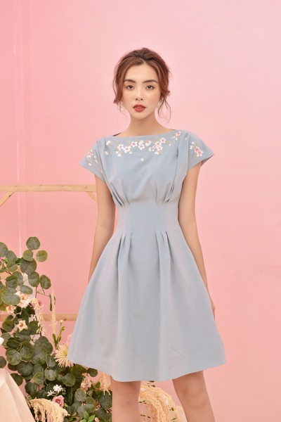 Powder Blue Embro Dress