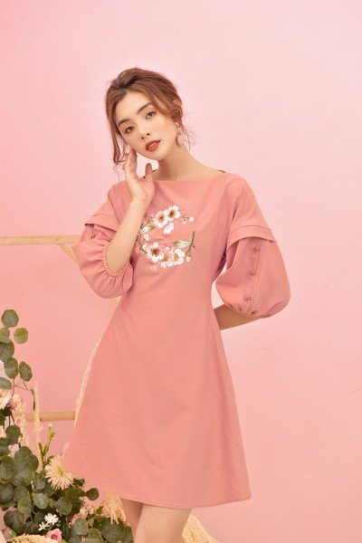 Peach Embro Dress