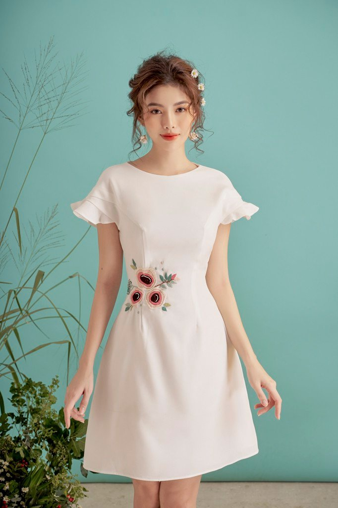 Embro On White Dress