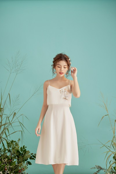 Strapie White Embro Dress