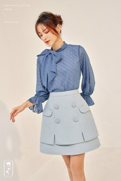 Áo Blue Steel Tie Neck Blouse