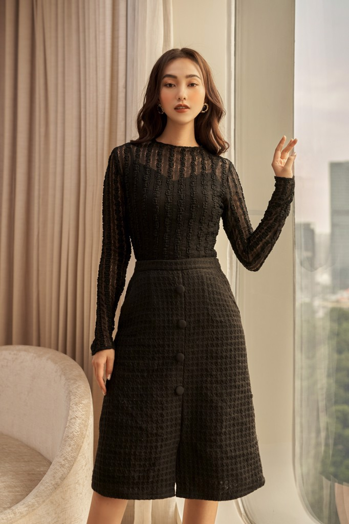 Chân váy Black Button Midi Skirt