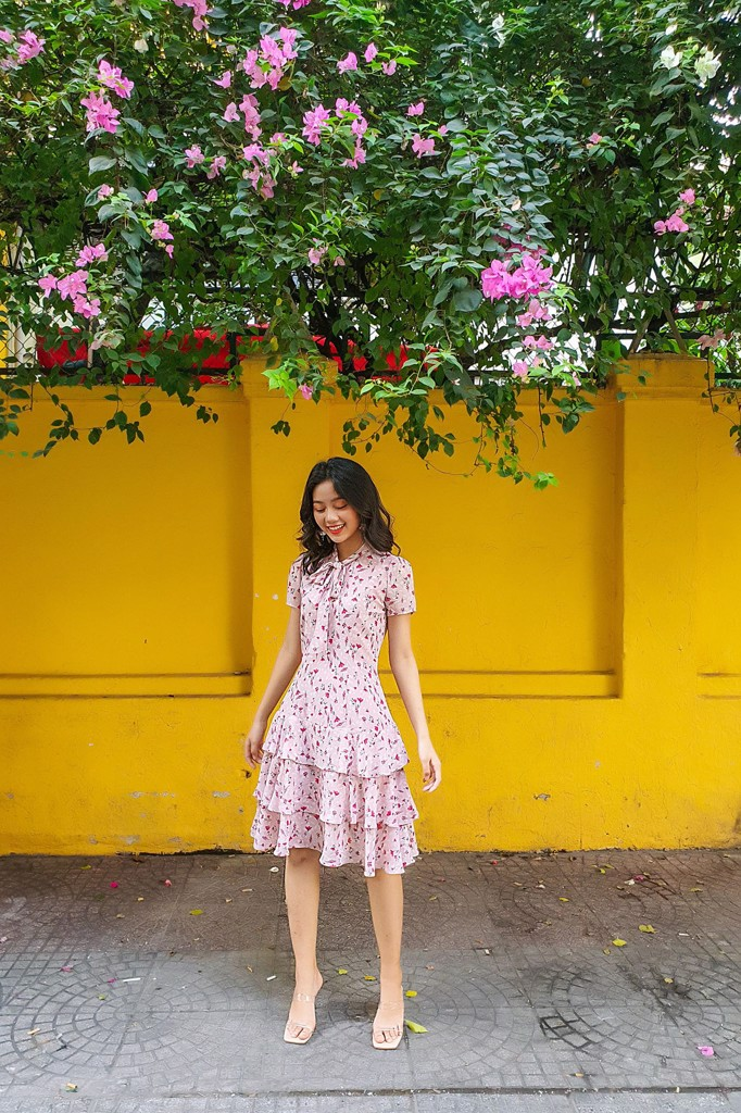 Pink Blossom Tie Dress