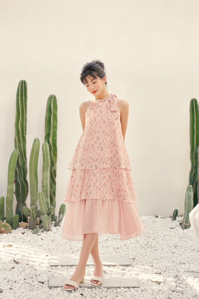 Coral Flower Layering Dress
