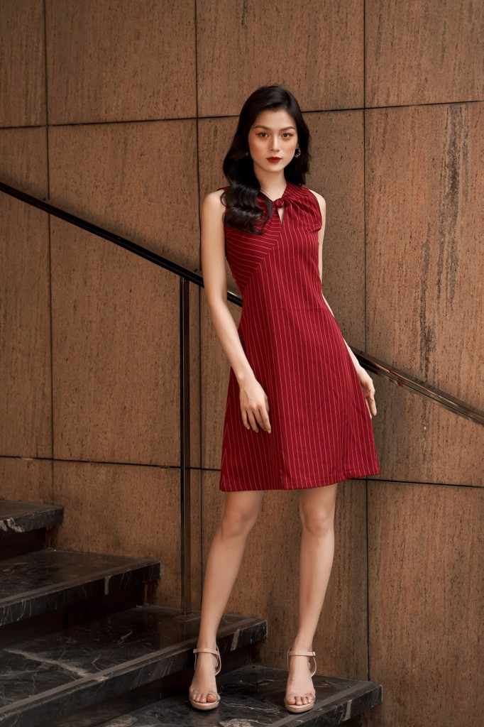 Crimson Striped Dress