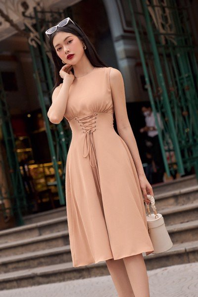 Umber Front Stitch Dress