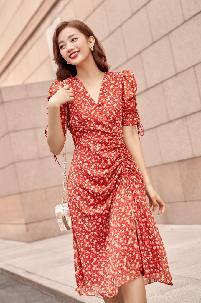 Aster Ruching Side Dress