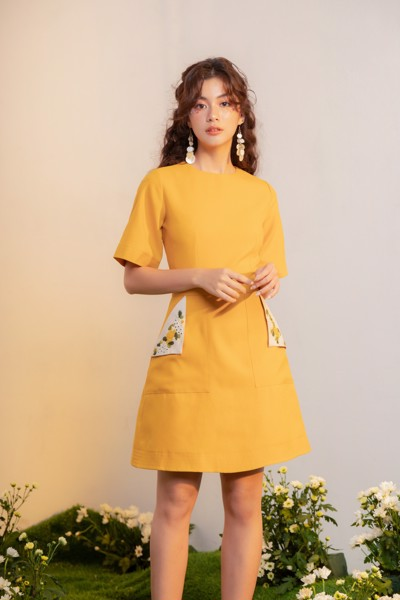 Sun Embro on Pocket Dress