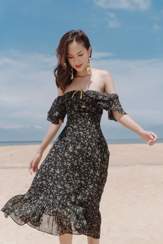 Drop Sleeve Floral Dress