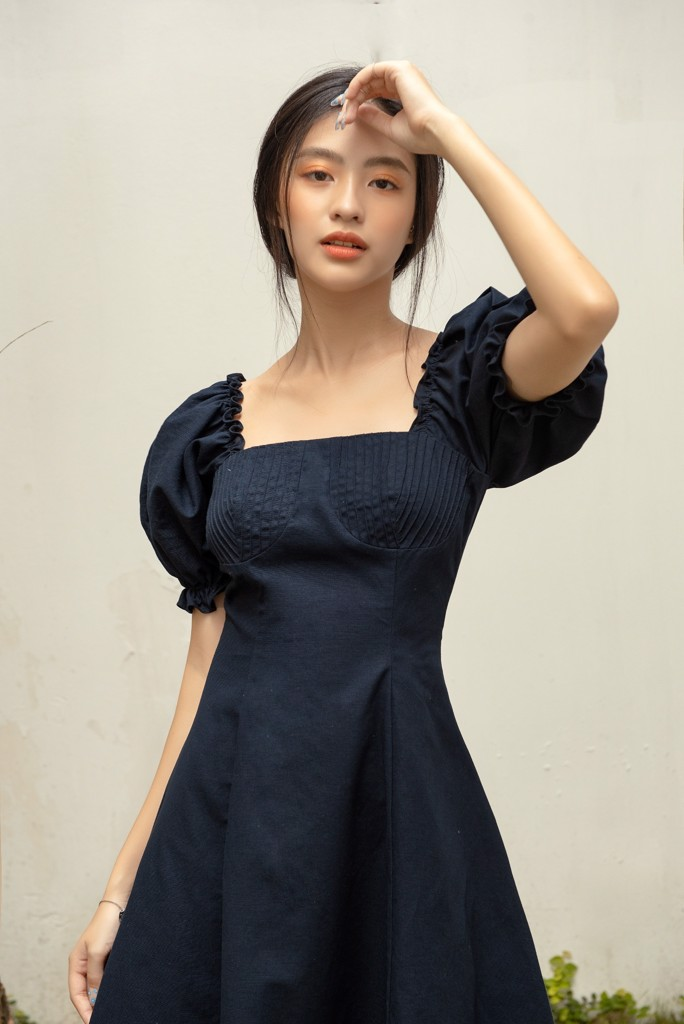 Chest Cup Navy Dress
