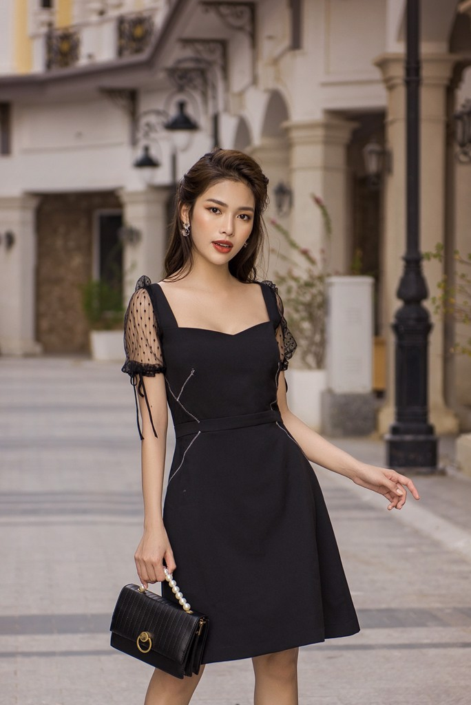 Inky Sheer Combined Dress