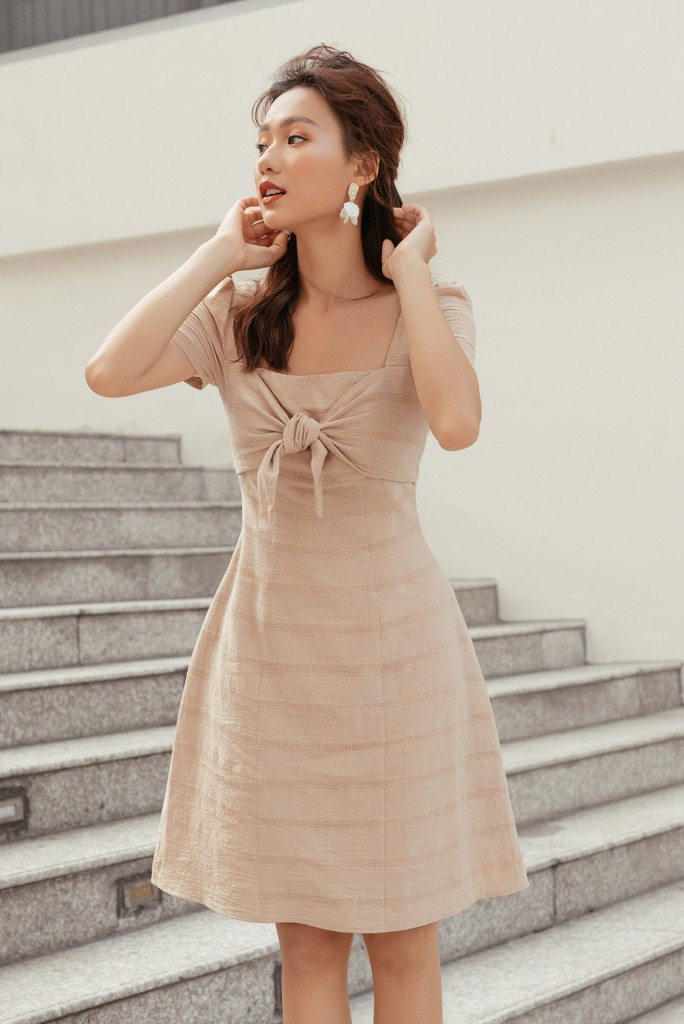 Beige Bow Tie Dress