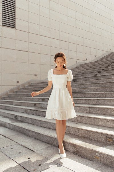 White Square Neck Dress