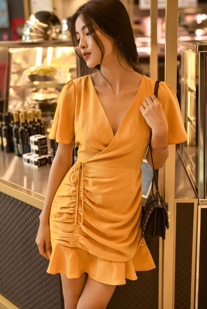 Mustard Frilled Ruching Dress
