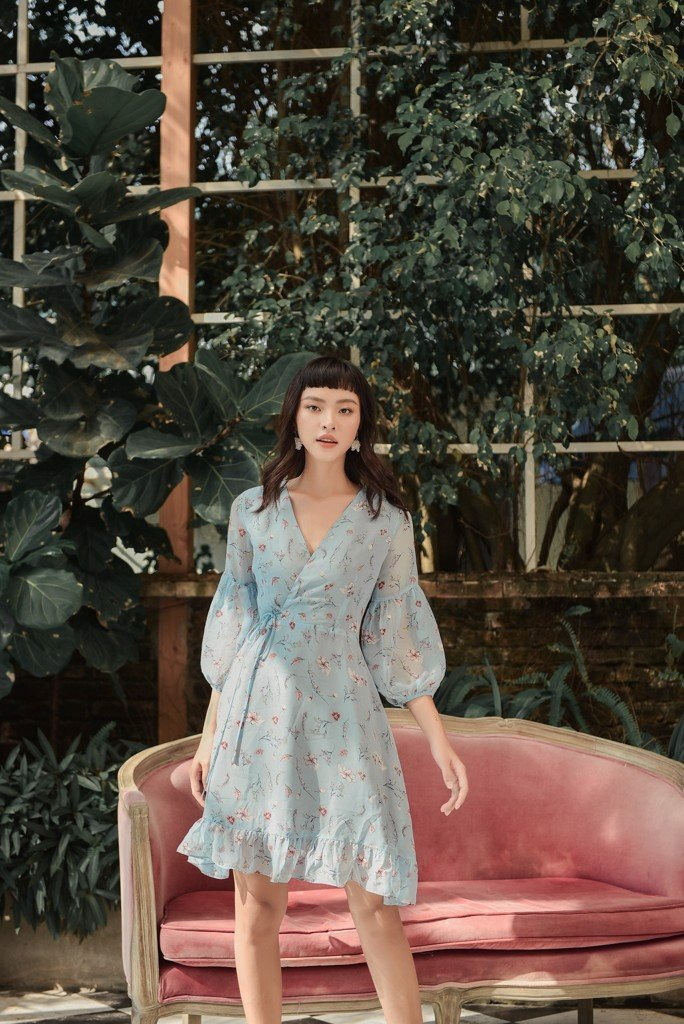 Blue Fleur Long Sleeve Dress