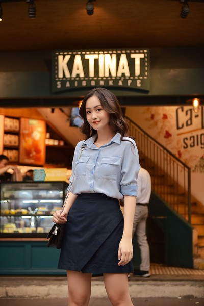 Navy Envelope Skirt