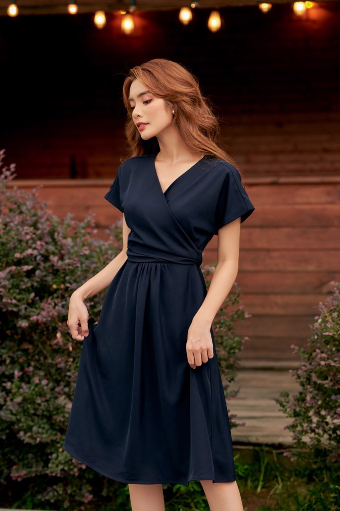 Navy Wrapping Dress