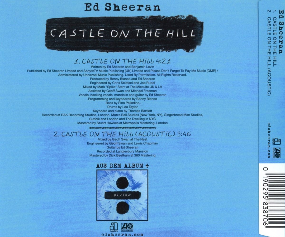 Ed Sheeran Castle On The Hill Cd Single Đĩa đơn Cd