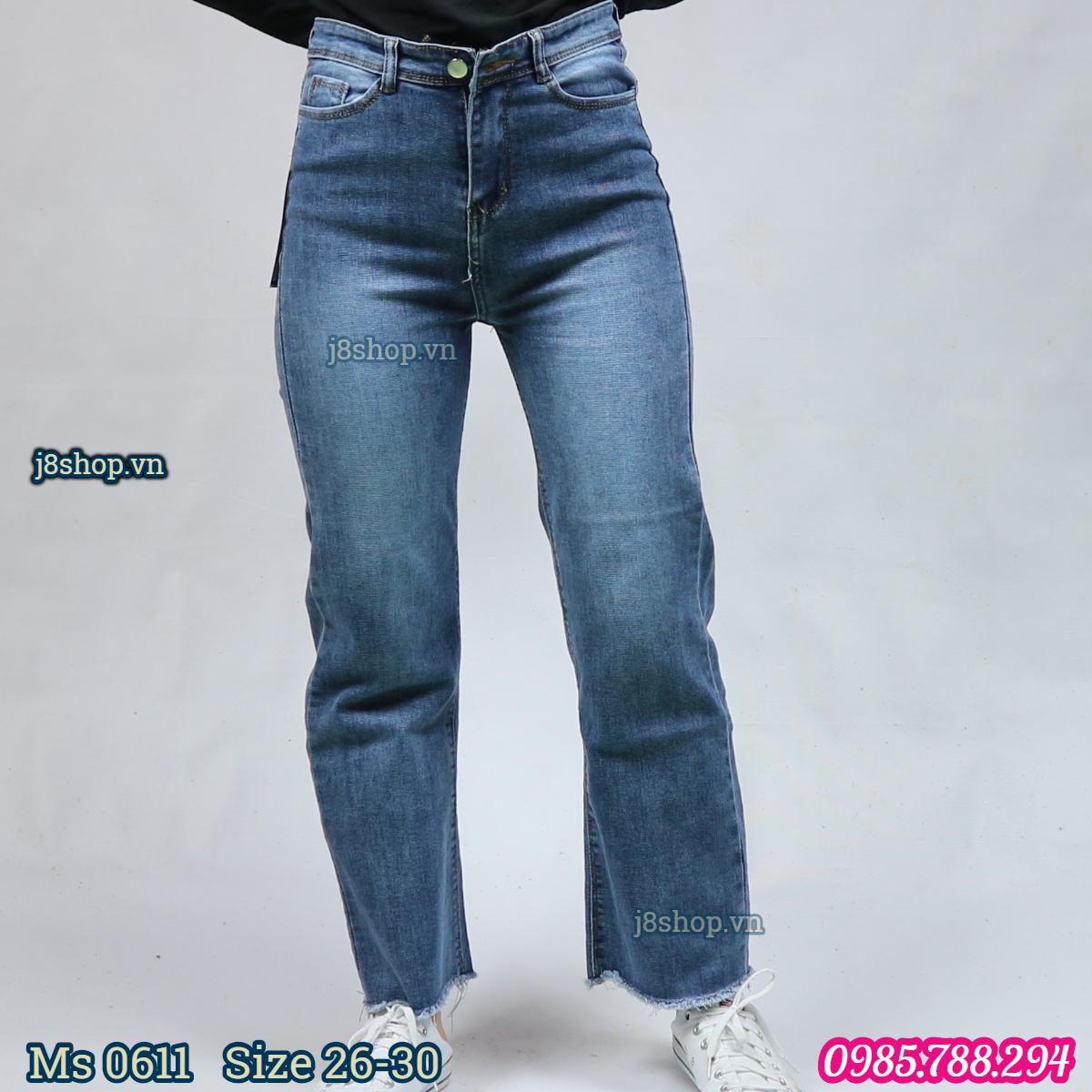 Quần Jean Nữ Ống Suông Lưng Cao Tua Lai Màu Xanh Size 26 30 Ms 0611