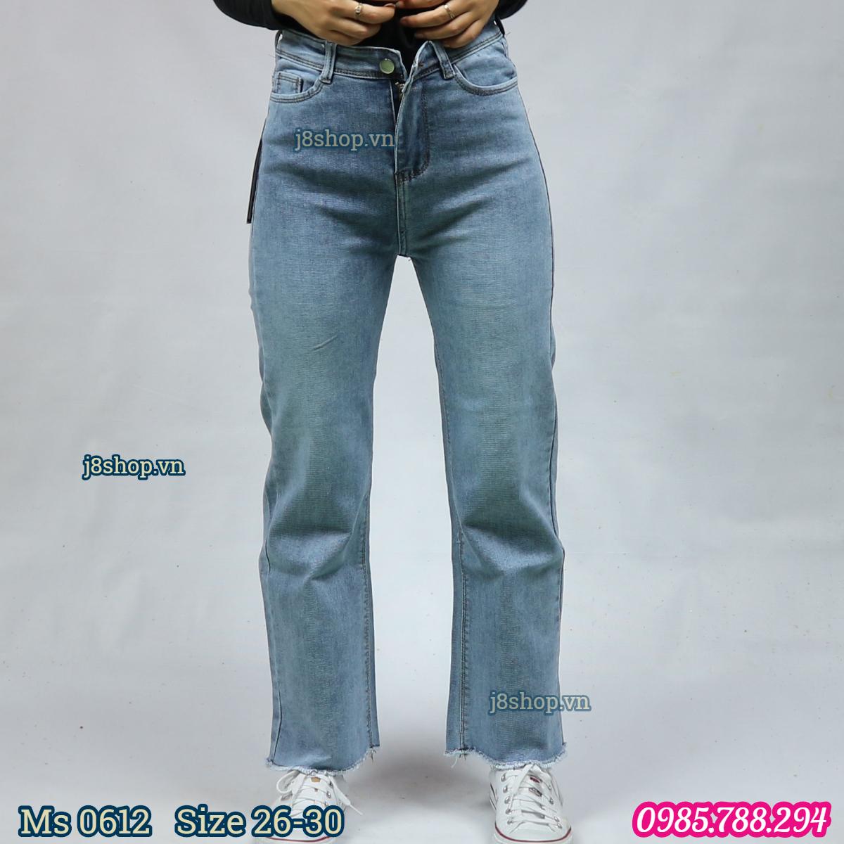 Quần Jean Nữ Ống Suông Lưng Cao Tua Lai Màu Xanh Nhạt Size 26 30 Ms 0612