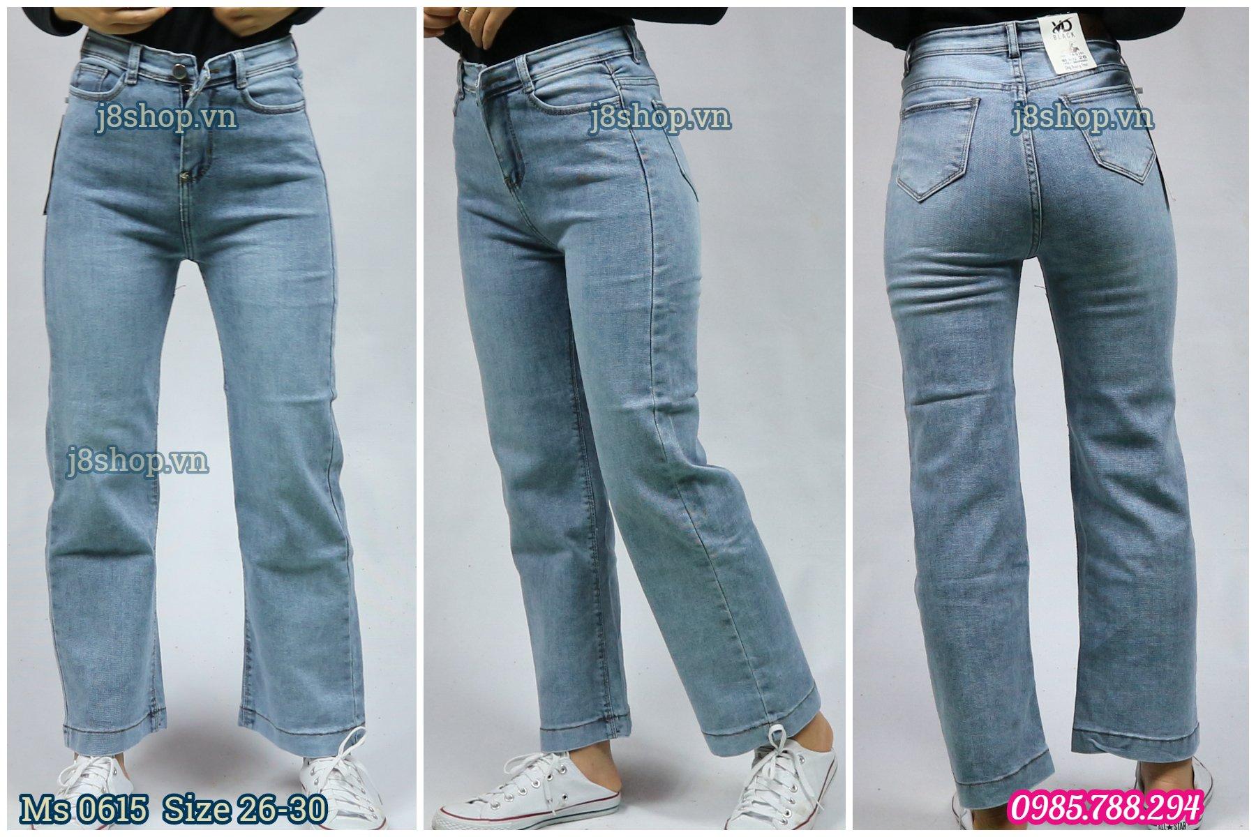 Quần Jean Nữ Ống Suông Lưng Cao Màu Xanh Size 26 30 Ms 0615