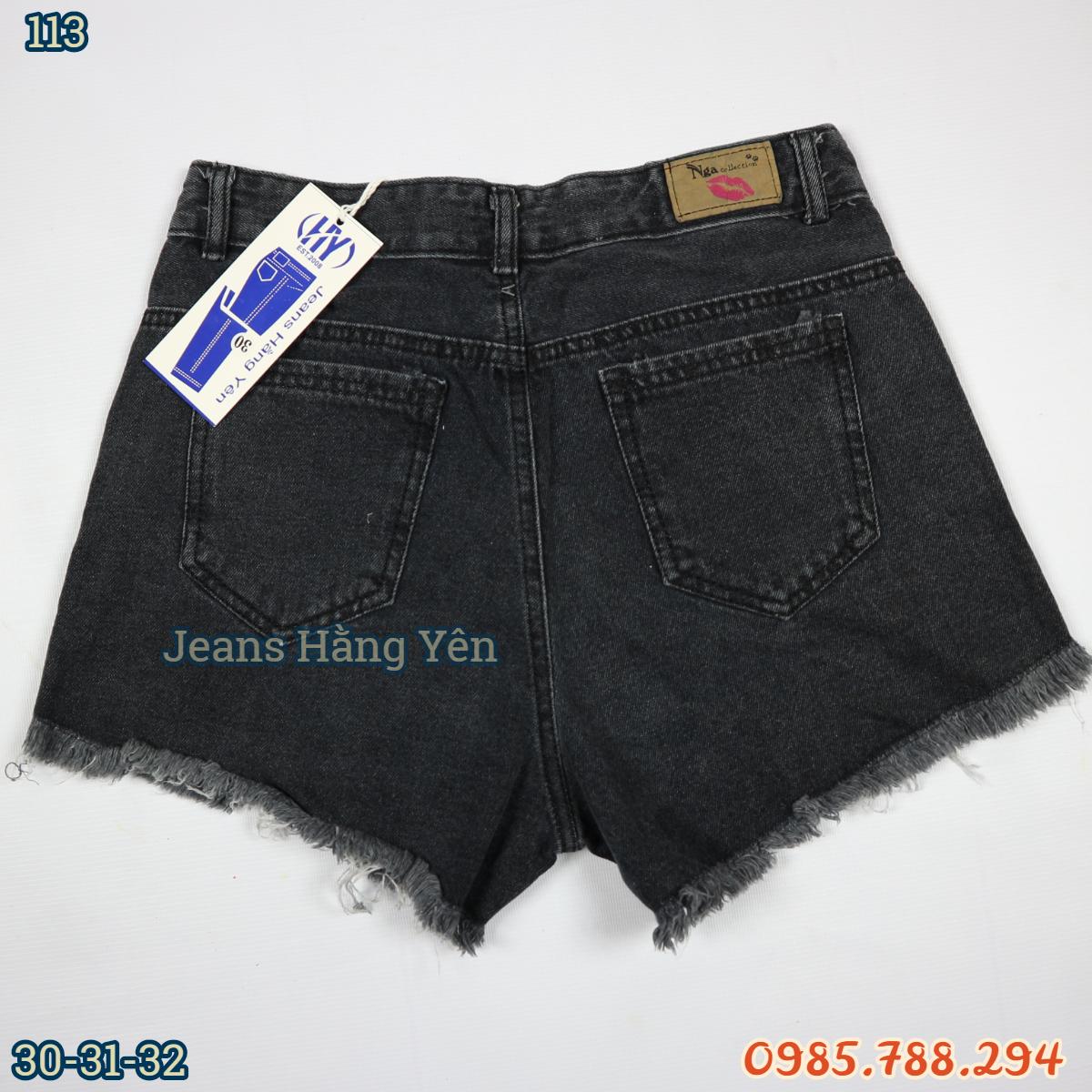 Quần Short Jean Nữ Đen Lưng Cao Size Đại Cào Xước Tua Lai Màu Xám ms 113