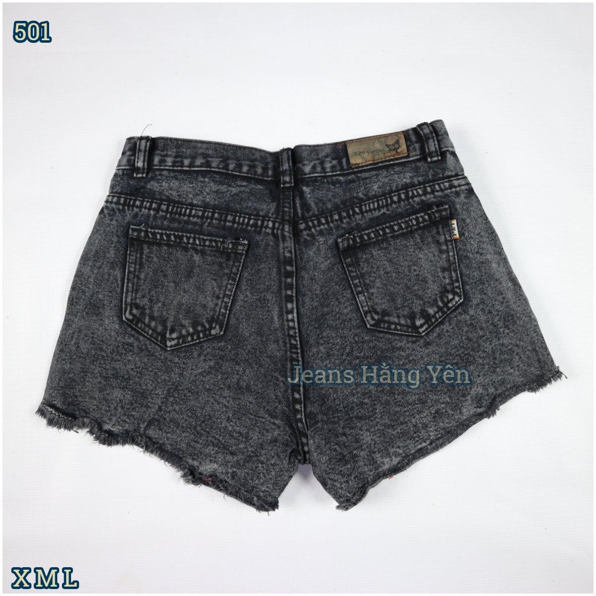 Quần Short Jean Nữ Cotton Kiểu Trơn Tua Lai Màu Xám ms 501