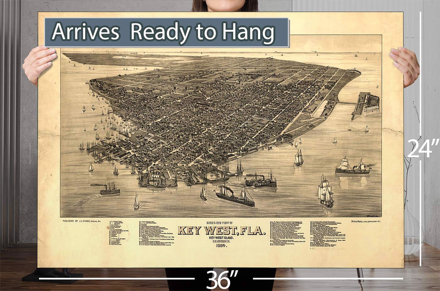 bird s eye view of key west fla key west island cs monroe co 1884 vintage map