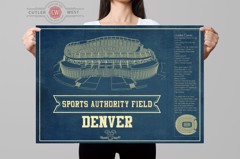 denver seating chart stadium print