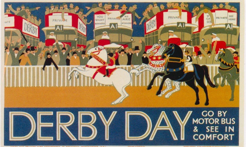 1928 derby day underground ap phich quang cao xua vintage poster