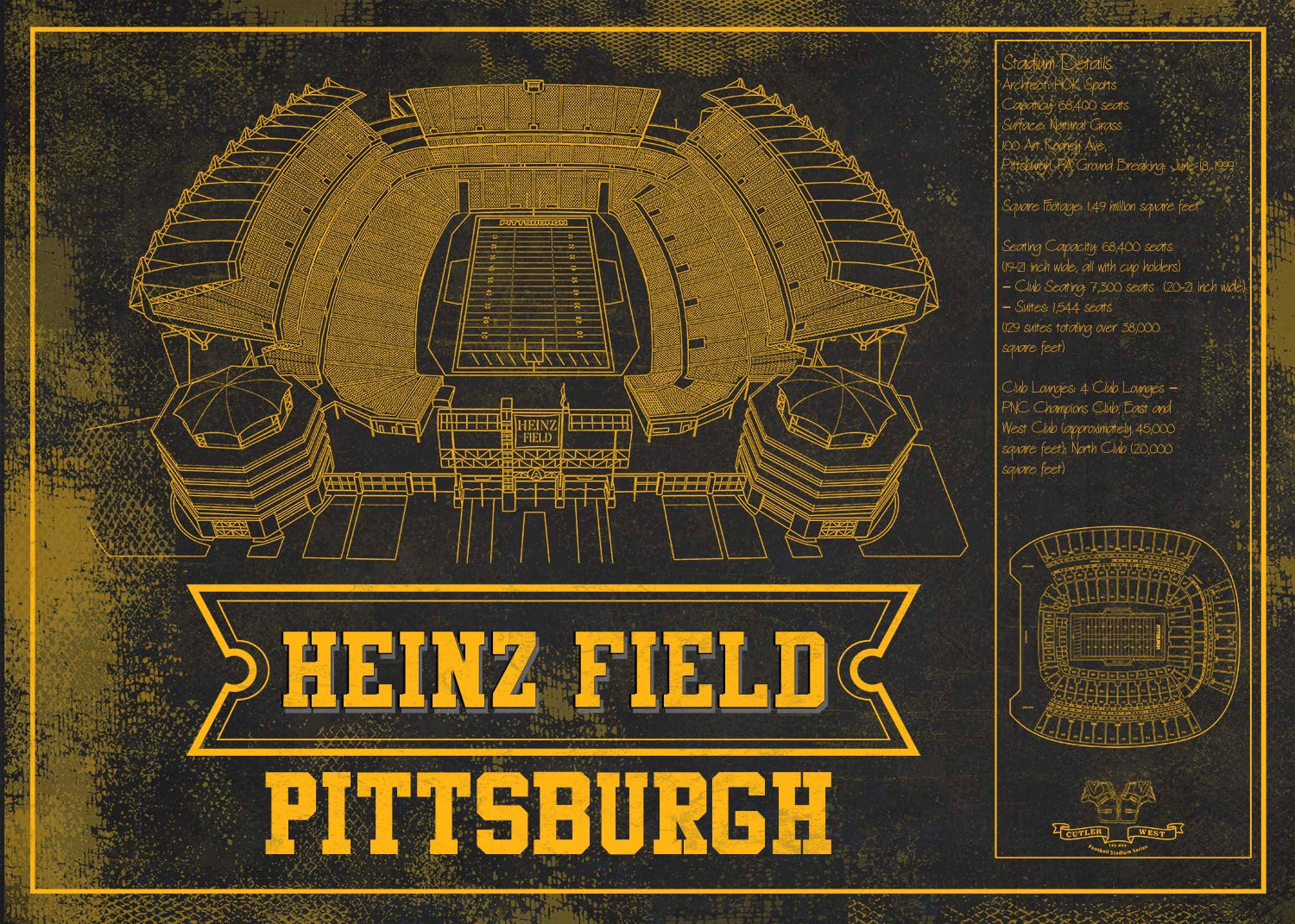 heinz stadium goldblack seating chart stadium print