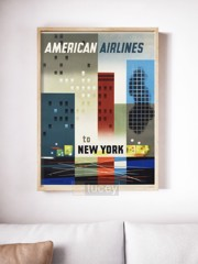 america airlines ap phich quang cao xua vintage poster