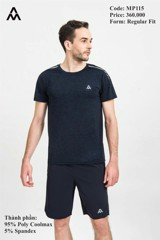 Áo Tshirt Running Melange Nam AM Navy MP115