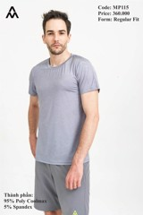 Áo Tshirt Running Melange Nam AM Grey MP115