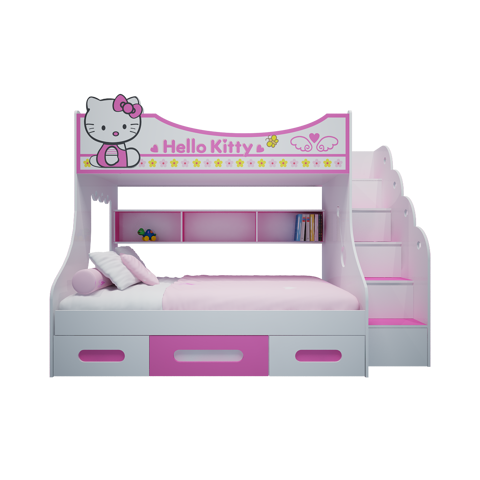 Giường tầng hello kitty hồng 1m4