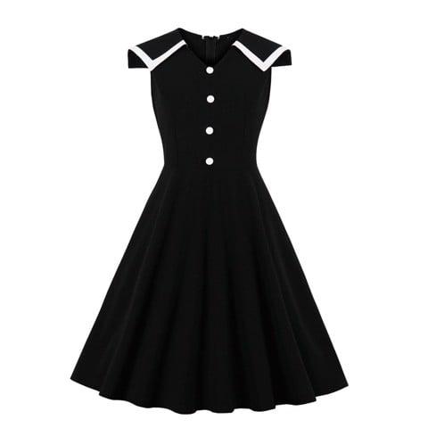 HM347 [Đầm Xòe Size Lớn - Đầm Cho Người Mập] Đầm chữ A xòe không tay cổ V thời trang công sở màu đen