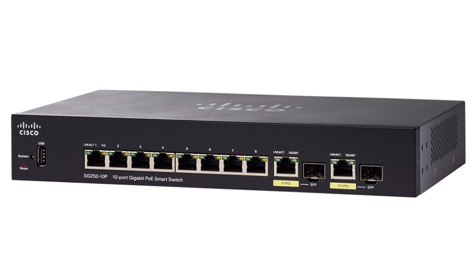 Switch Cisco SG250-10P-K9 10-Port Gigabit PoE+