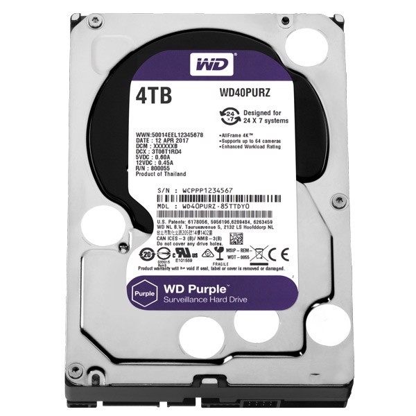 Ổ cứng HDD Western Digital Purple 4TB 3.5