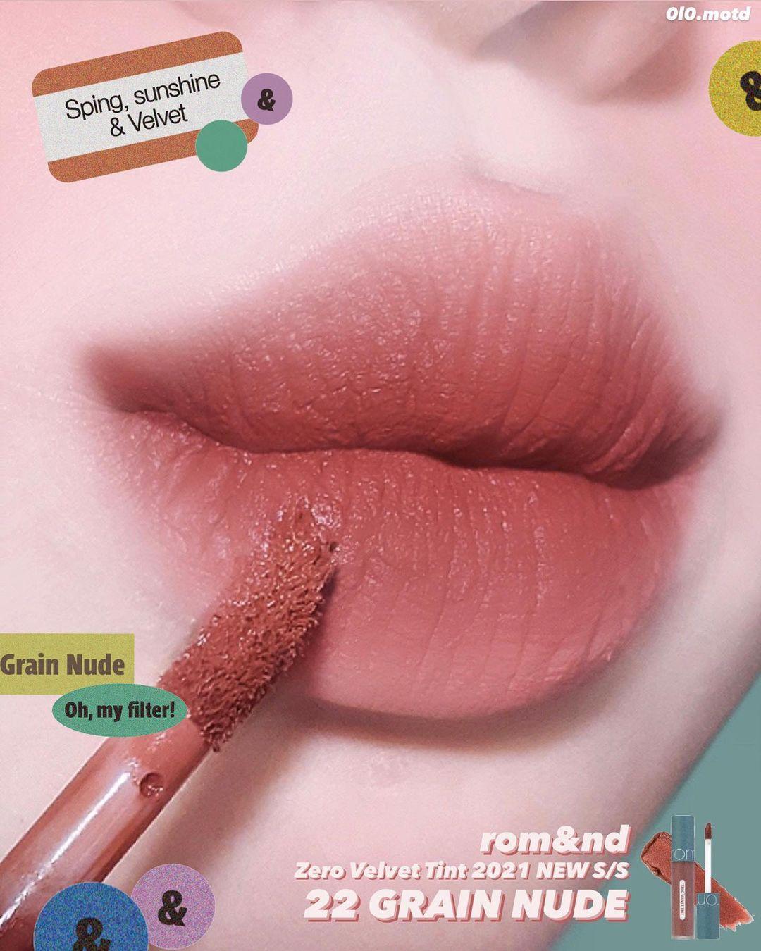 [ĐẶT HÀNG TRƯỚC 14/4 - Mua 1 Tặng 1] (Vintage Filter 2021 S/S)  Son Kem Lì Romand Zero Velvet Tint