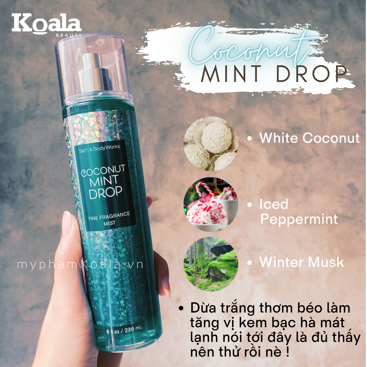 Xịt Body Bath & Body Works Fine COCONUT MINT DROP Fine Fragrance Mist
