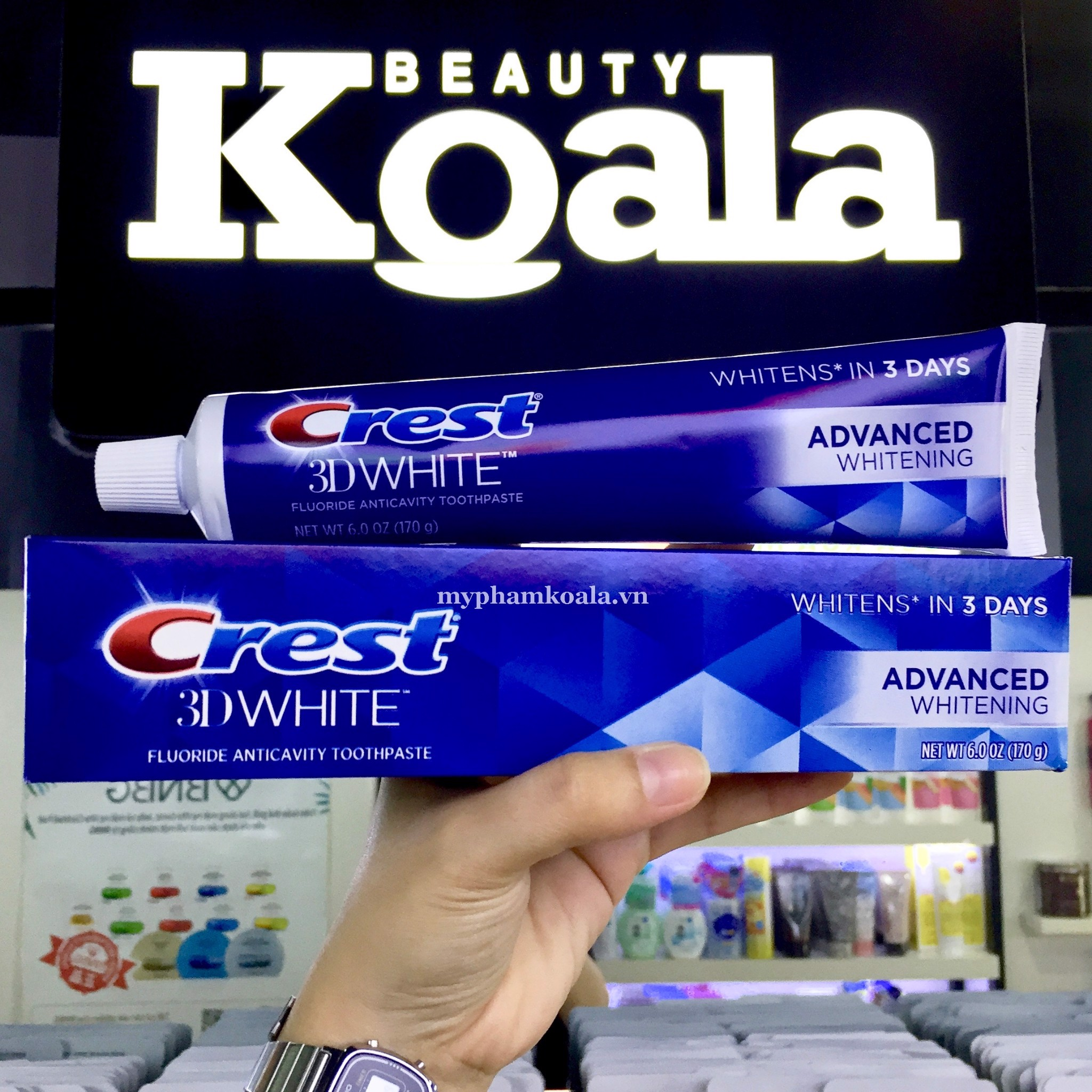 Kem Đánh Trắng Răng Crest 3D White Advanced Whitening Fluoride Anticavity Toothpaste 170gr