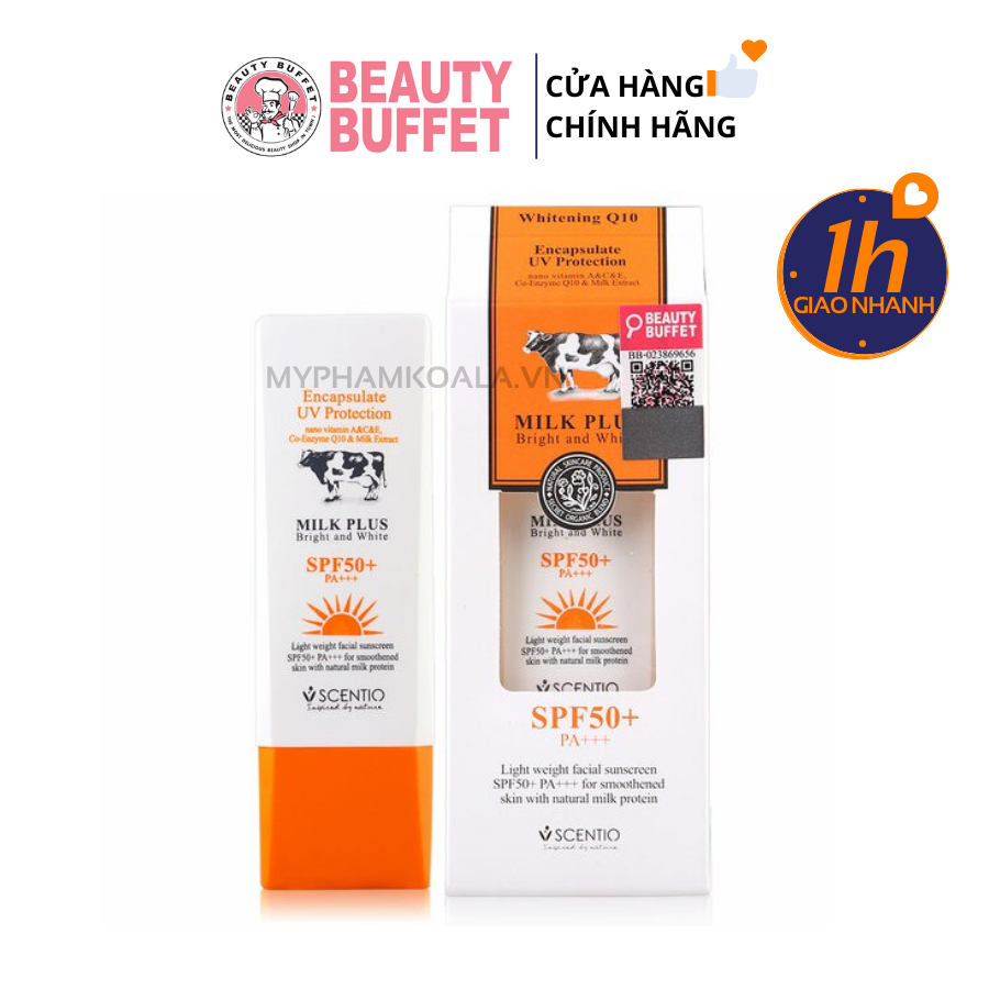 Kem Chống Nắng Beauty Buffet Scentio Milk Plus Whitening Q10 Encapsulate UV Protection SPF50+ PA++
