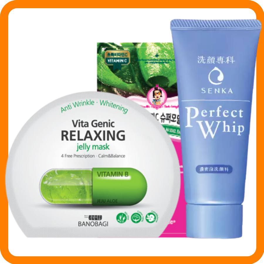 SRM Perfect Whip 50G + Mặt Nạ Banobagi #Relaxing + Mặt Nạ PackYangee #Ngọc Trai